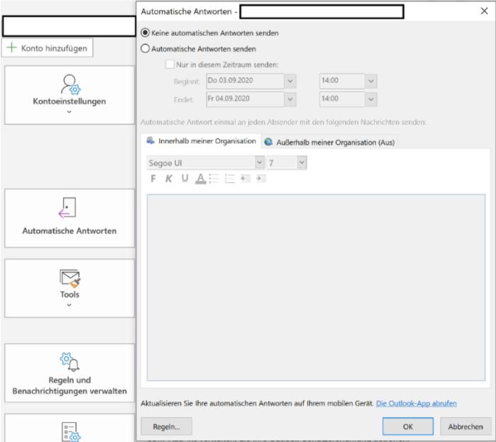Einstellungen automatische ihre nicht angezeigt können outlook antworten für Outlook 2010